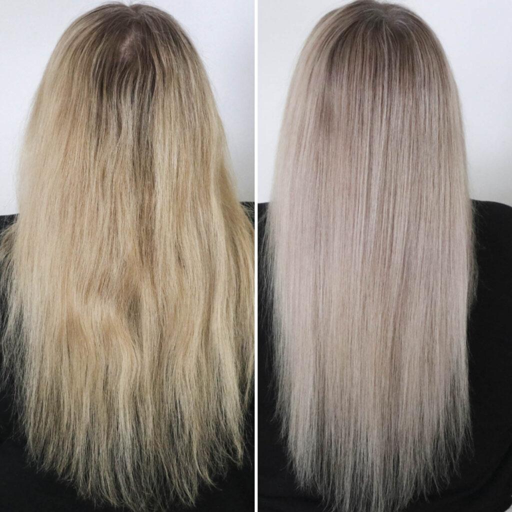 Hiukset ennen ja jälkeen kotisävytyksen